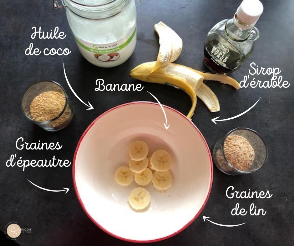 Ingrédients friandises cheval maison banane, épeautre, lin