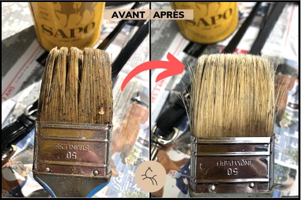 pinceau gras avant après nettoyage